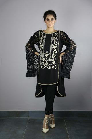 Urooj Fahd - Black Long Croched Sleeves Top - 2 PC