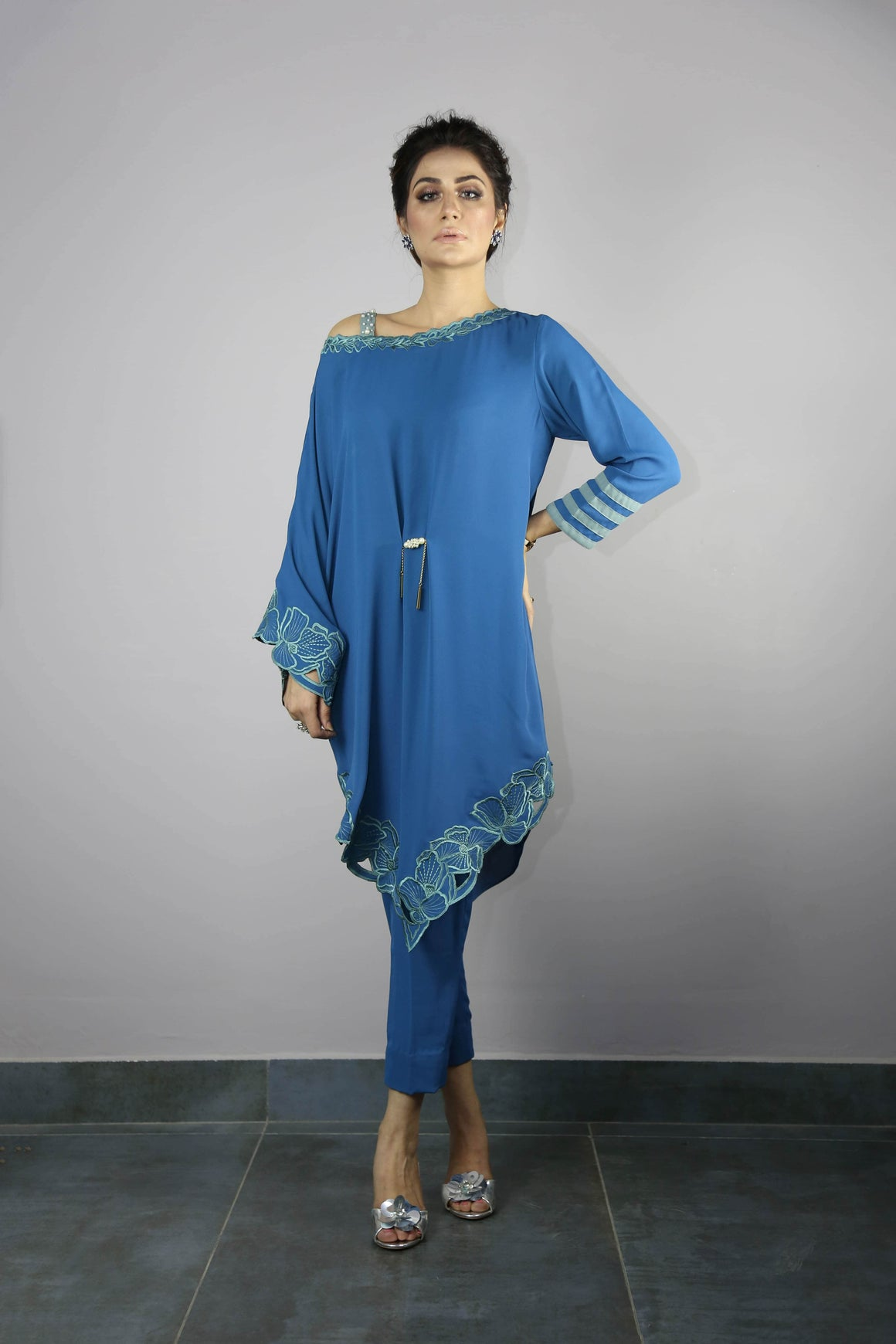 Urooj Fahd - Ocean Blue Angular Cut Work Tunic Top - 2 PC