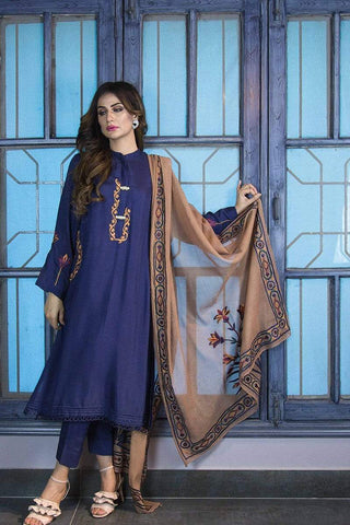 Urooj Fahd - Cobalt Blue Kurta With Embroidery - 3 PC