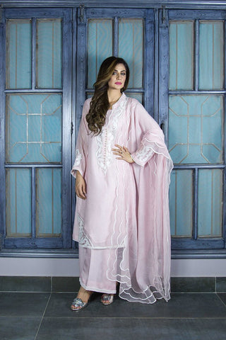 Urooj Fahd - Baby Pink Cotton Neck Applique Shirt - 3 PC