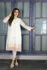 Urooj Fahd - White Block Printed Sleeves Shirt - 2 PC