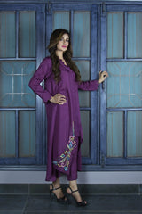 Urooj Fahd - Plum Angular Hemline Shirt - 2 PC