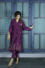 Urooj Fahd - Plum Pure Raw Silk Shirt - 3 PC
