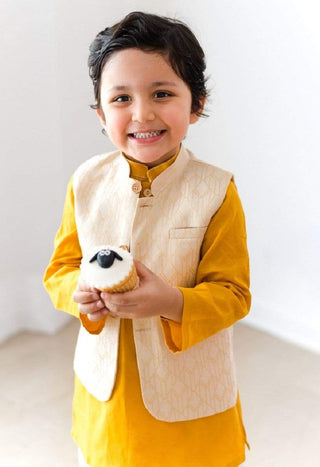 Hummingbirds - Butterscotch Jacquard Kurta