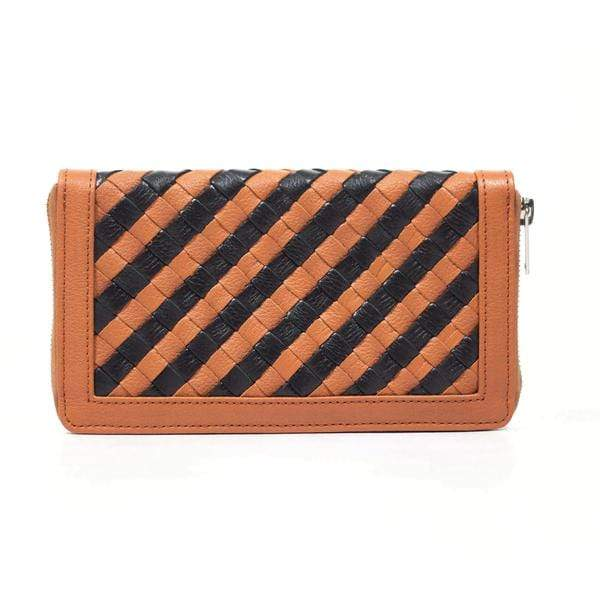 Novado - Lexi Brown Genuine Leather Weave Clutch - 3048