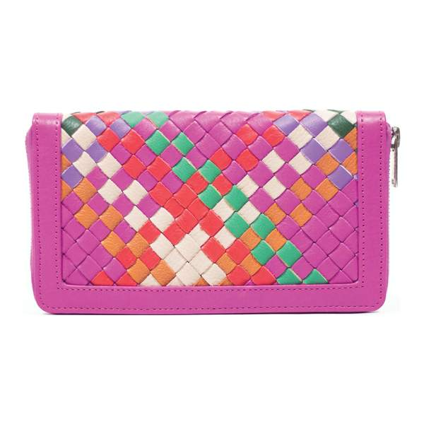 Novado - Lexi Pink Genuine Leather Weave Clutch - 3049