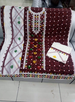 Designs by Amina - Hand Embroidered Lawn Suits - 3 PC