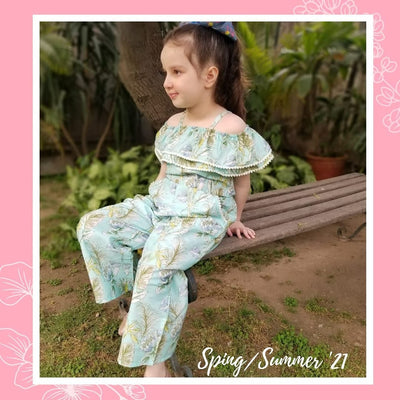 Hummingbirds - Green & White Summery Jumpsuit
