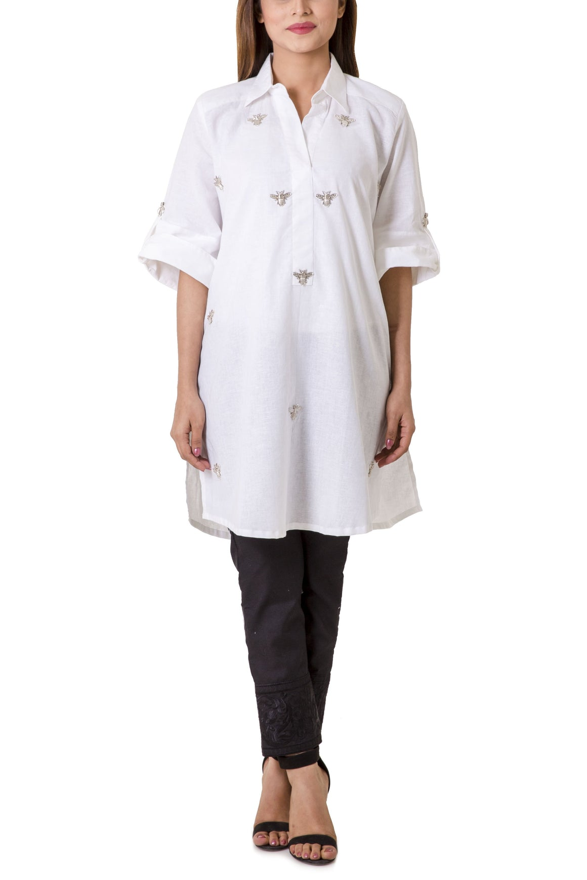 Mehreen Noorani - White Knight White Cotton Collared Tunic