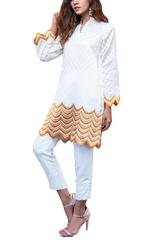Natasha Kamal - Yellow Ochre Cotton Net Tunic