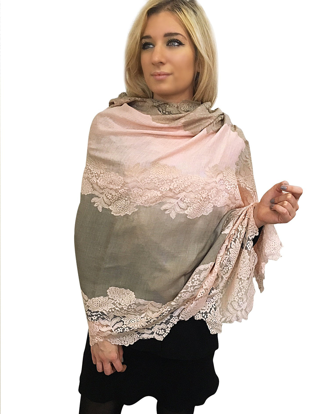 Amishi - Pink & Beige Two Tone Scarf