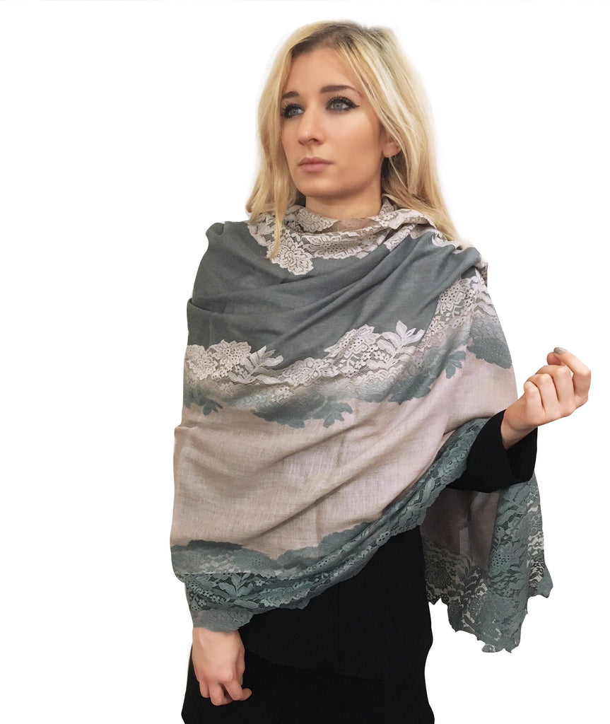 Amishi - Pink & Grey Two Tone Scarf