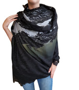 Amishi - Shaded Grey To Black Two Tone Scarf
