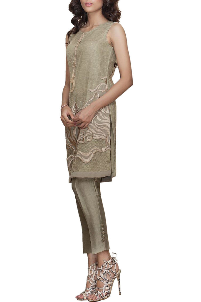 Natasha Kamal - Alegra Metallic Threads Tunic With Raw Silk Trouser & Dupatta