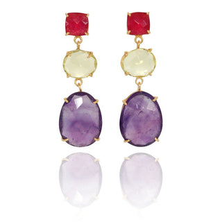 Vanessa Heaney - Rani Chalcedony, Lemon Quartz and Amethyst Earrings