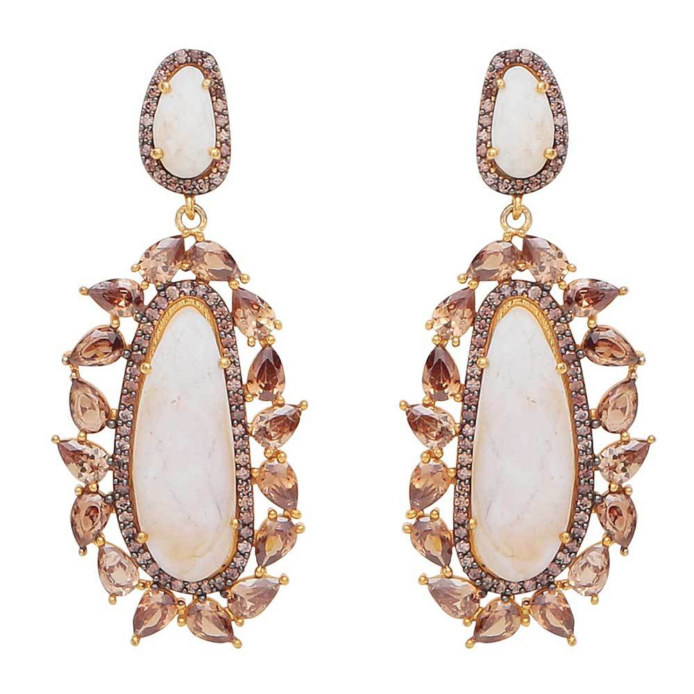 Red Dot Jewels - Anita Earrings White