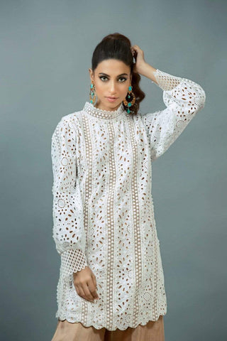 Maheen Karim - White Chikan Top With Nude Lining
