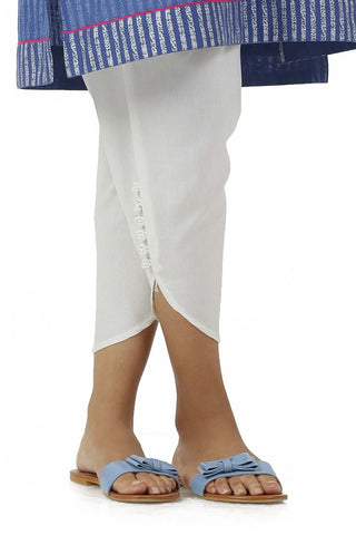 Ego - Off White Buttoned Tulip Pants - LW0198