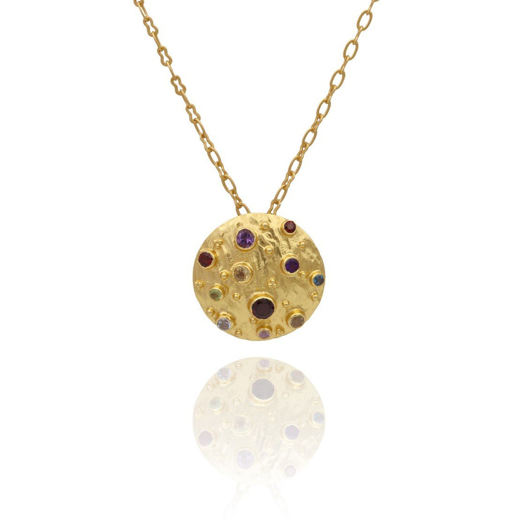 Vanessa Heaney - Moonscape Multi Gem Pendant Gold