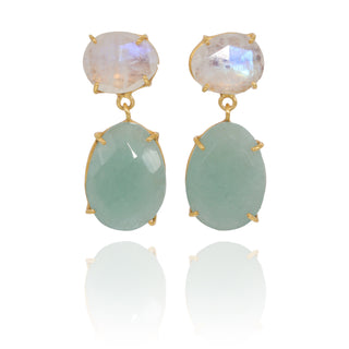Vanessa Heaney - Moonstone and Milky Aquamarine Earrings