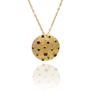 Vanessa Heaney - Garnet Moonscape Pendant Gold