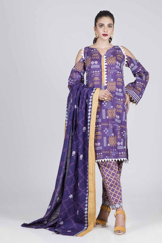 Bonanza Satrangi - PURPLE DAMASK GRID A - 3 PC - RWT93P007A