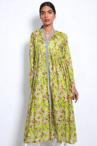 Generation - Parrot Green Ditsy Flared Frock - 1 PC