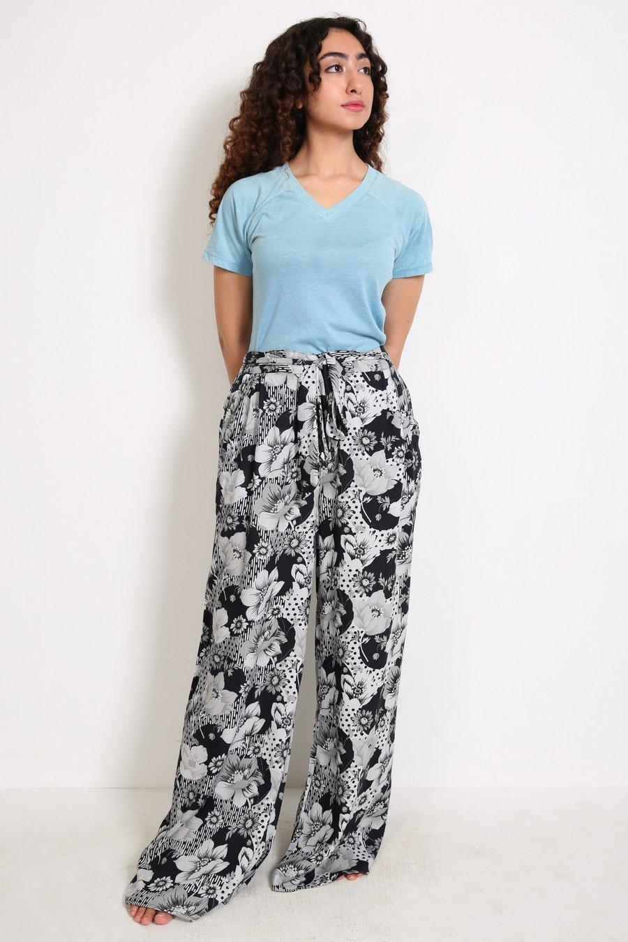 Generation - Multi Color Pyjama Party Tie Waist Flared Pants