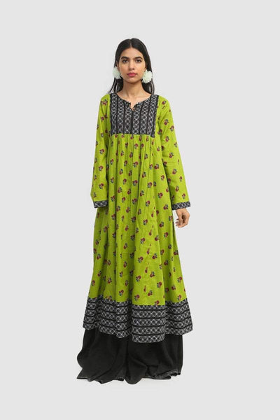 Generation - Parrot Green Candy Flared Dress - 1 PC