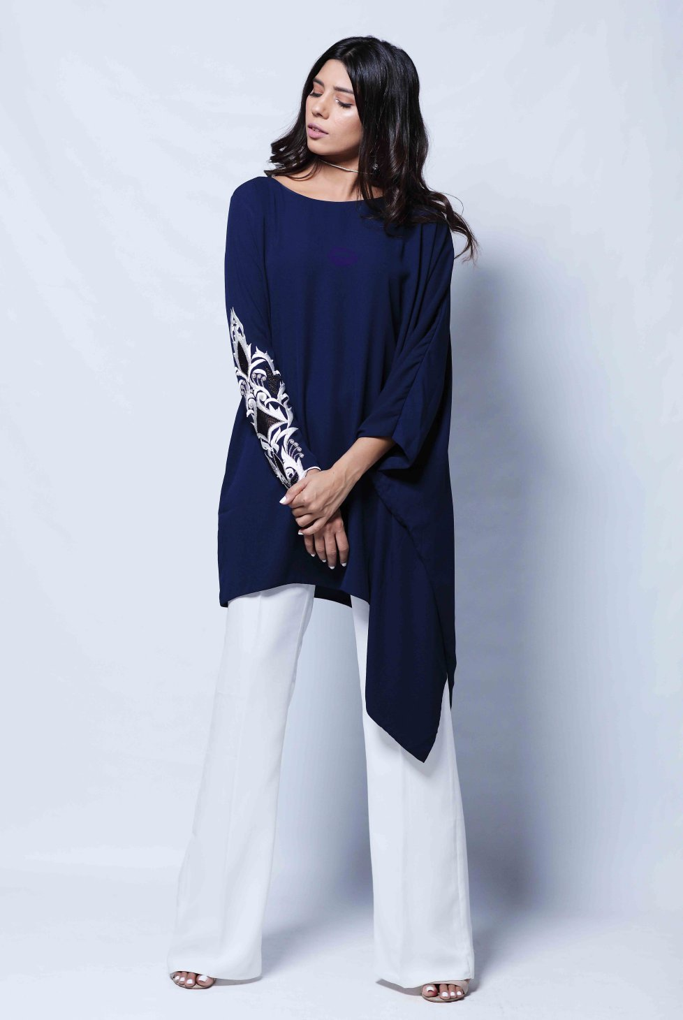 Natasha Kamal - Zoe Angular Tunic With One Embroidered Sleeve & Trouser