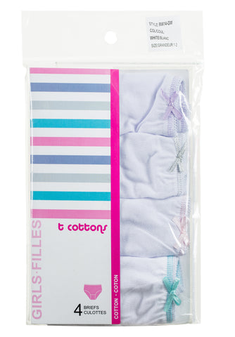T cottons girls white briefs -T COTTONS-briefs- Hosierama