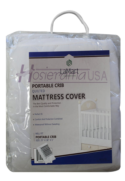 PORTABLE CRIB QUILTED MATTRESS COVER
