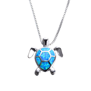 Blue Opal Turtles Necklace 925 Sterling Silver for woman
