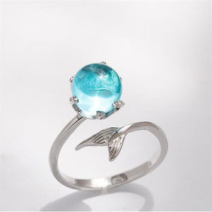 Tiny Piece of the Ocean 925 Sterling Silver Mermaid Ring & Necklace