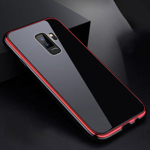 Luxury Metal Frame Rigid Glass Case For Samsung S9 / S9 Plus