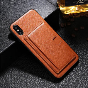 Luxury Genuine Leather Card Holder Case For iPhone X