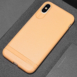 Leather Texture Soft Phone Case For iphoneX