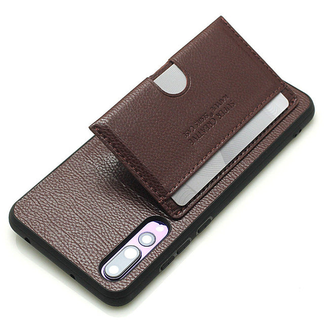 Fashion Card Holder Stand Leather Case For Huawei P20 Pro