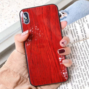 Fashion Clear Wood Tempered Glass Case For iPhone's