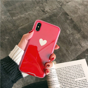 Fashion Love Heart Soft Silicone Case For iPhone's