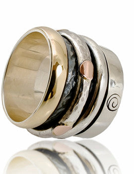 Men's wedding ring - Fabulous Handcrafted 9K Yellow Gold 925 Silver Swivel Ring  ITR-804