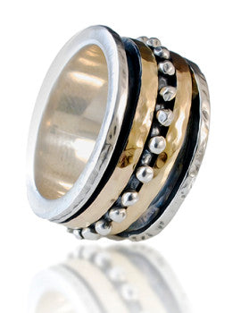 Mens wedding ring, Silver & 9k Yellow Gold wedding band, solid hammered swivel ring ITR-808