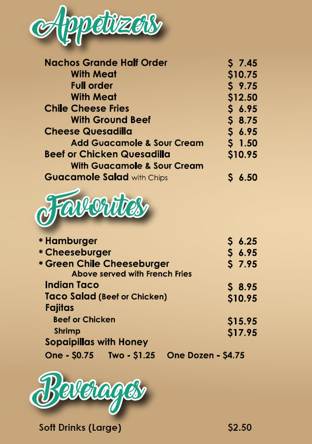 Los Cuates Carry Out Menu New Mexican Food in Albuquerque and Sandia Park