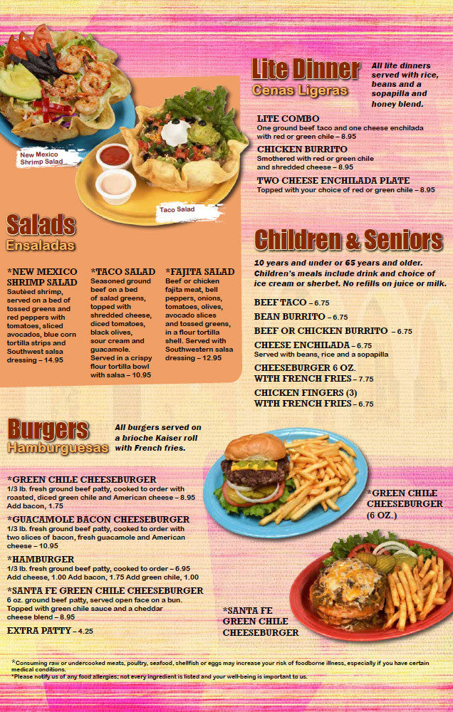 Los Cuates Dine In Menu Burgers, Children, Seniors