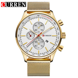 CURREN New Gold Quartz Watches Men Fashion