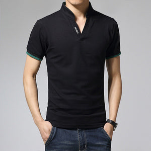 Fashion Mens T Shirts  V-Neck Slim Fit Short Sleeve