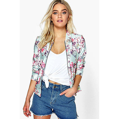 Fashion Floral  Print Women Autumn Winter Bomber Jacket