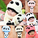 Winter Baby Panda Warm Hats+Scarf