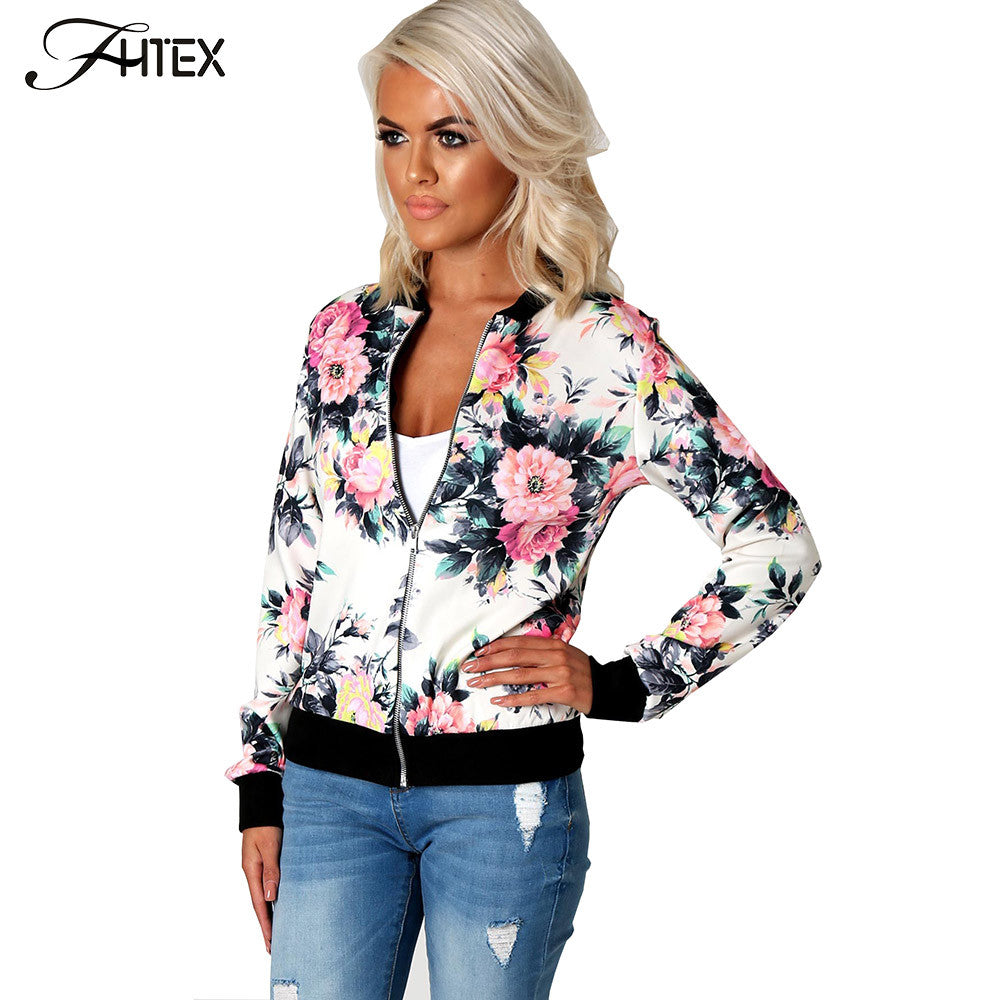 Flower Print Women Basic Coats Zipper Bomber Jacket