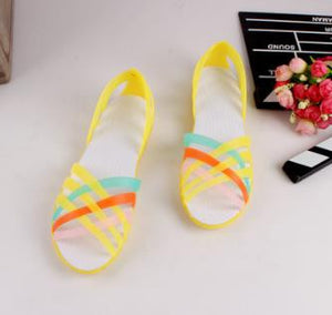 New Candy Color Women Shoes Rainbow Croc Jelly Shoes